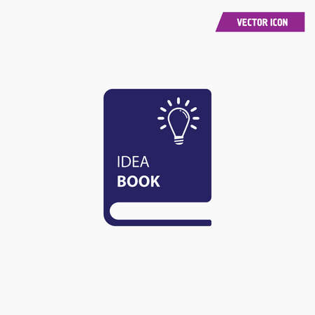blue idea sketch book icon with lamp, vector, white font Vectores