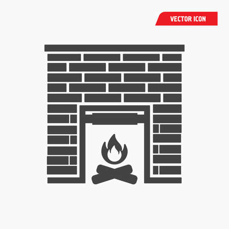 brick fireplace icon, black with flame, vector eps10 Illustration