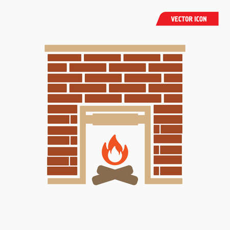 fireplace icon brown with red flame, brick, vector eps10