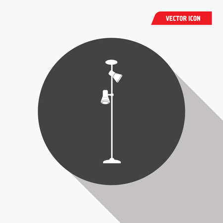 white standing lamp icon in black circle, shadow, vector eps10 Illustration