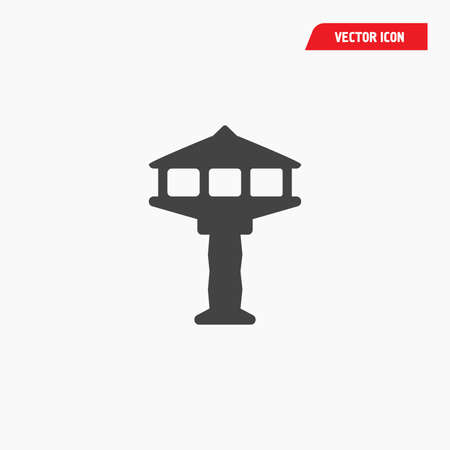 black airport tower icon, white font, vector Illustration