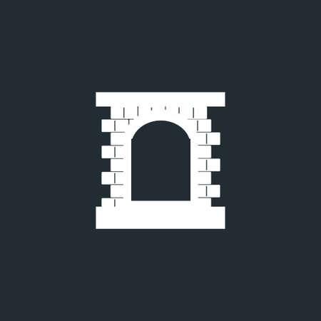 black window with white brick frame icon, vector, black font