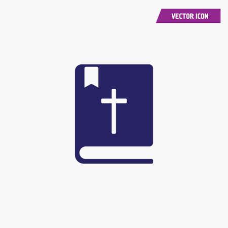 blue religious bible cross book icon, vector, white font