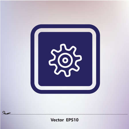 white wheel in blue frame icon, white, blue contour, white, silver grey blurred font Ilustração