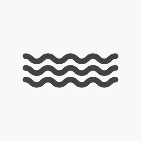 black water waves icon, vector, white font Illustration