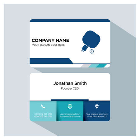 Baseball player business card template set, vector, white, blue, on grey