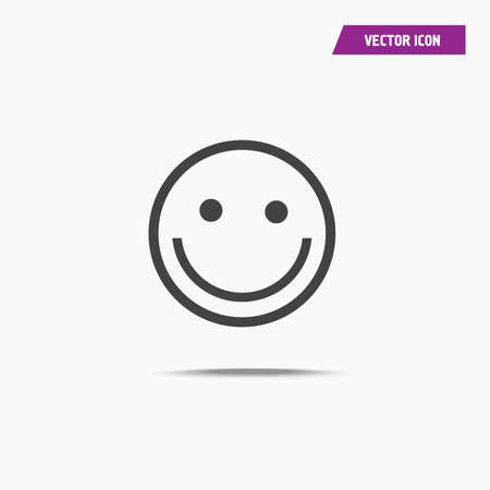 Happy Smile Icon with shadow in trendy flat style isolated on grey background. Happy face symbol for your web site design, logo, app, UI. Vector illustration - Vector