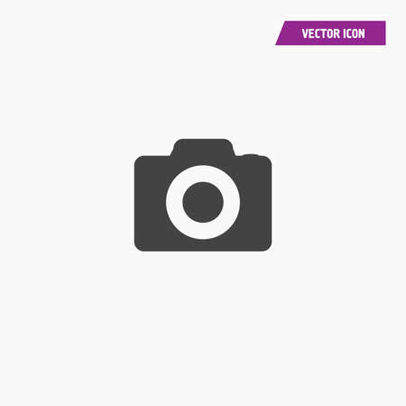 Black Camera Icon in trendy flat style isolated on grey background. Camera symbol for your web site design, logo, app, UI. Vector illustration - Vector