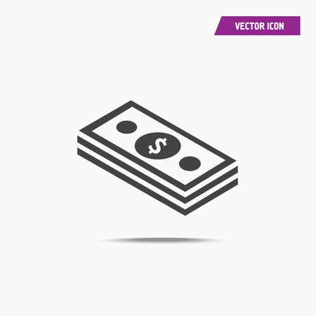 Black Cash Money Icon with shadow in trendy flat style isolated on grey background. Money symbol for your web site design, logo, app, UI. Vector illustration