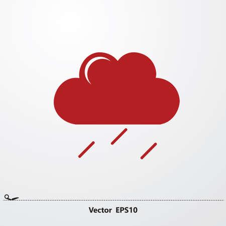 Red Rain Cloud, Rainy Weather Icon Design Concept. On white background. Illustration