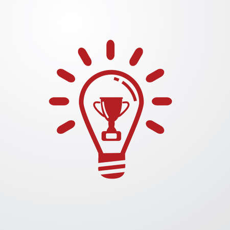 Red Light Bulb line icon vector, winner cup symbol inside. Idea sign, solution, thinking concept. Electricity, shine. Trendy Flat style for graphic design, Web site, UI.  - Vector Illustration