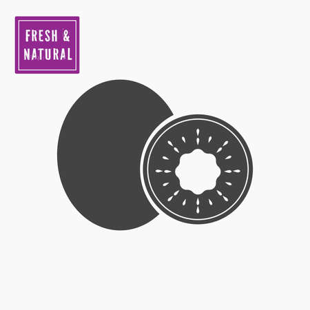 Black whole and half cut melon icon with  fresh and natural label for sale, import, export. Vector, white font.