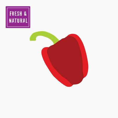Red bell pepper icon, with fresh and natural label. Vector, white background.