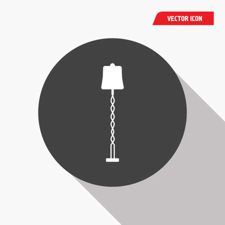 white standing lamp icon in black circle, shadow