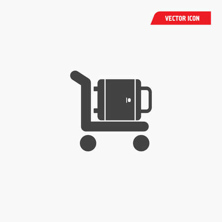 airport baggage trolley icon, black