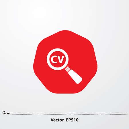white search cv icon in red circle, hexagon, white font
