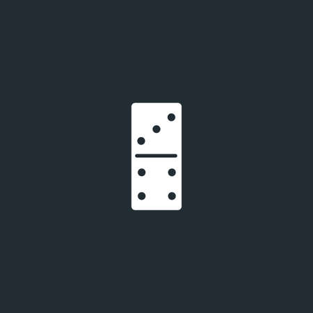 Dominoes dice line icon on black font. Three to four, linear style sign for mobile concept and web design. Domino game outline vector icon. Vector