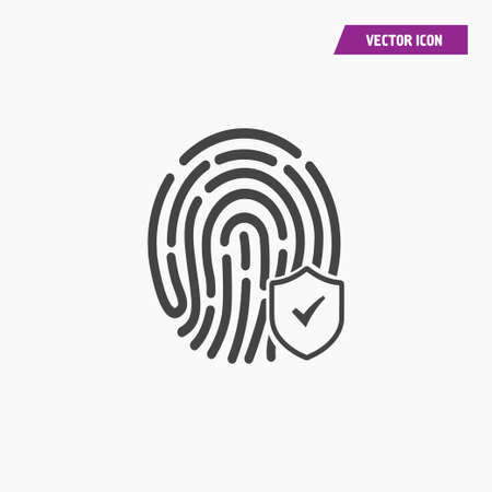 Scan fingerprint approved, confirmed icon isolated sign symbol. Flat Vector illustration. Can be used for mobile and web design. Illustration