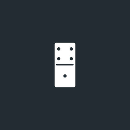 Dominoes dice line icon on black font. Four to one, linear style sign for mobile concept and web design. Domino game outline vector icon. Vector Vectores
