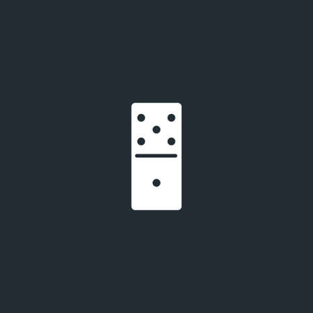 Dominoes dice line icon on black font. Five to one, linear style sign for mobile concept and web design. Domino game outline vector icon. Vector