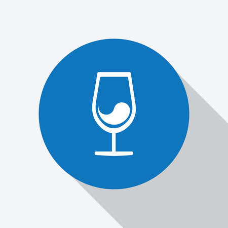 White Wine Glass Icon with wine in blue circle with shadow, Vector Illustration - Vector Векторная Иллюстрация