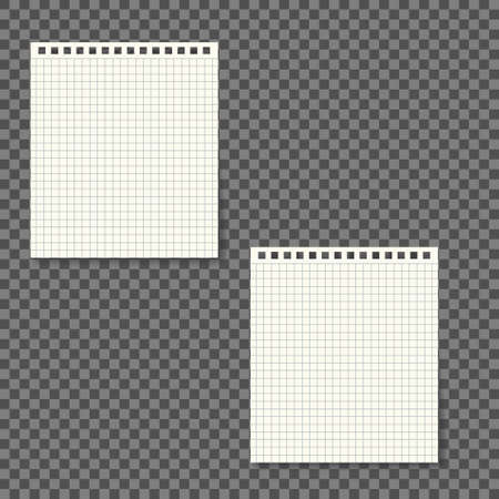 Blank white check lines spiral notebook pages mockup, organizer and diary with white paper.on grey font - Vector