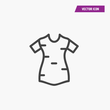 Line women t shirt icon with short sleeves. Vector on white.