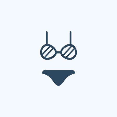 Women beachwear, bikini, underwear set icon. Vector on white.