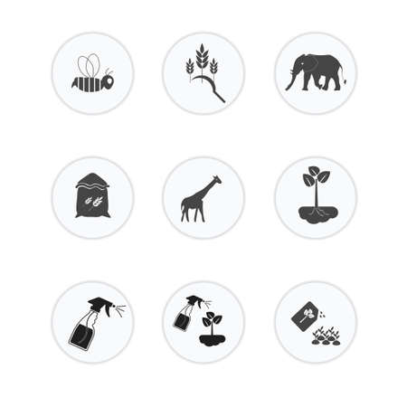 9 Set of Agriculture Icon . Vector illustration on white background.
