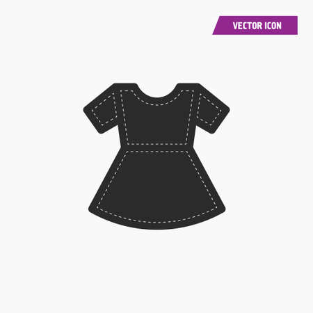 Black woman t shirt icon with short sleeves and white knit thread on it. Vector.