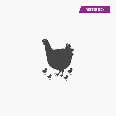 Vector chicken,chick,  hen silhouette icon. Flat design. vector on white. Illusztráció