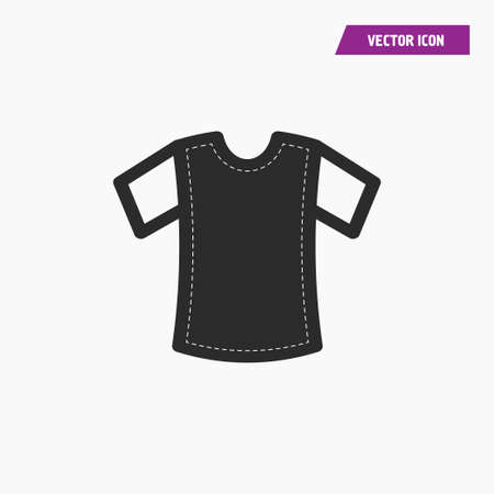 Black t shirt icon with white short sleeves. White knit on it. Vector Ilustrace