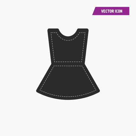 Black sleeveless women t shirt, mini dress icon. with white knit thread on it. vector. Ilustrace