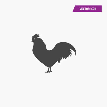 Vector chicken, hen, cock, rooster silhouette icon. Flat design. vector on white. Illusztráció