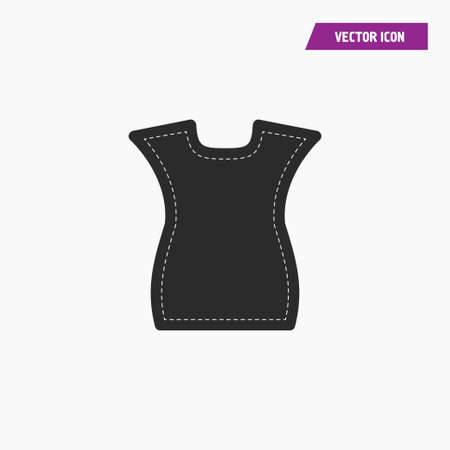 Black sleeveless women t shirt icon with white knit threads on it. Vector.