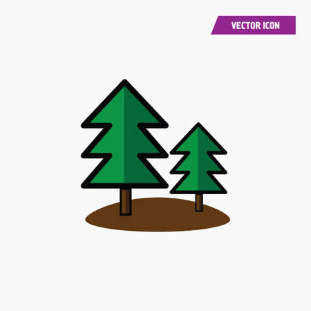 Green forest, tree icons on white background with land piece. Vector illustration.