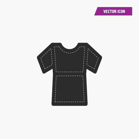 Black t shirt, top icon with short sleeves. with white knit thread on it. vector.