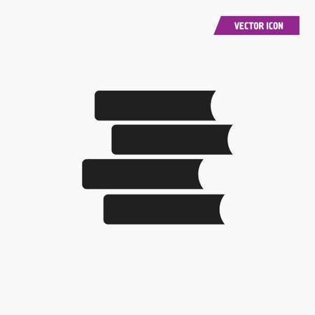 Black pile of book icon. Vector on white background. Vectores