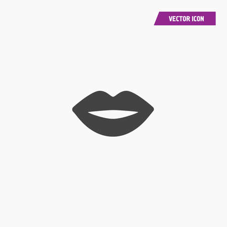 Black women lips silhouette icon vector on white background - Vector
