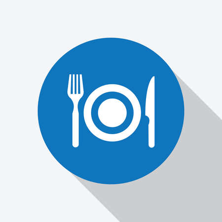 White dinner set, plate fork and knife icon in blue circle with shadow. vector, solid illustration, pictogram isolated on white - Vector Ilustração