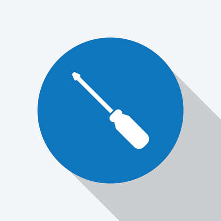White screwdriver in blue circle with shadow icon design template - Vector