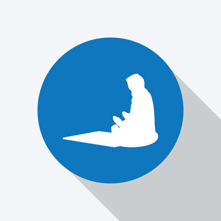 White Muslim prayer icon in blue circle with shadow, making a supplication while sitting on a praying rug. Vector Illustration