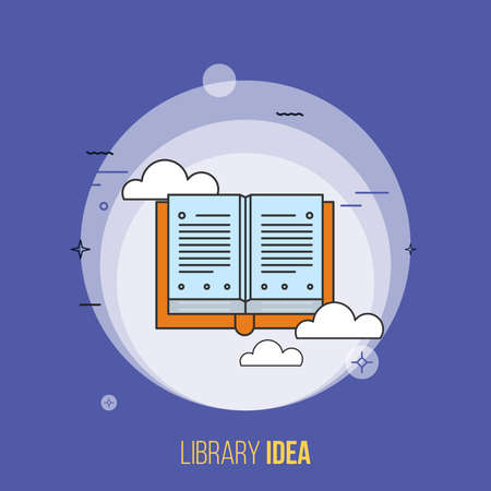 Online library, open book with ideas banner, flat design thin line banner, can be used for e-mail newsletter, web templates, headers, blog posts, print and more. Purple font- Vector Ilustração