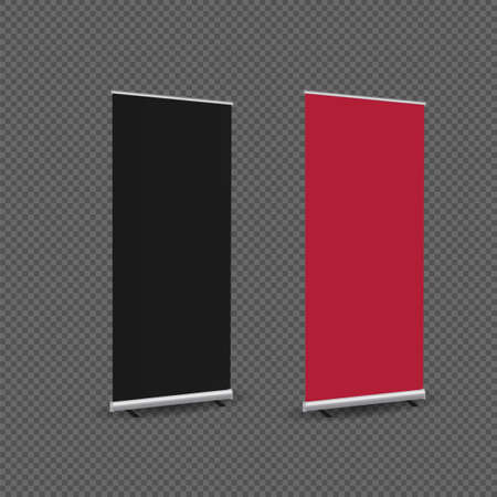 Blank red black roll up banners. Mockup, Vector illustration on black background. - Vector