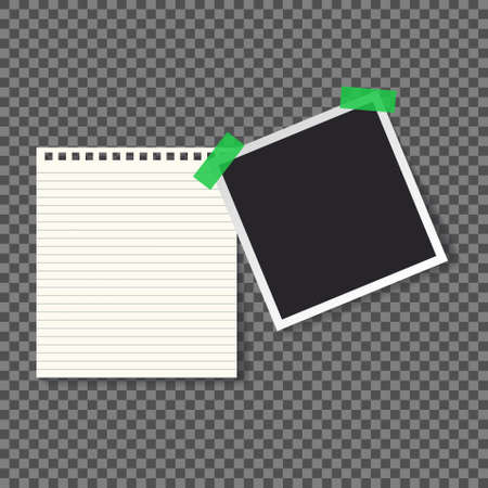 Polaroid black blank photo mockup glued with green adhesive tape with blank notebook page. Realistic empty template for collage with sticker on white borders and shadow. - Vector