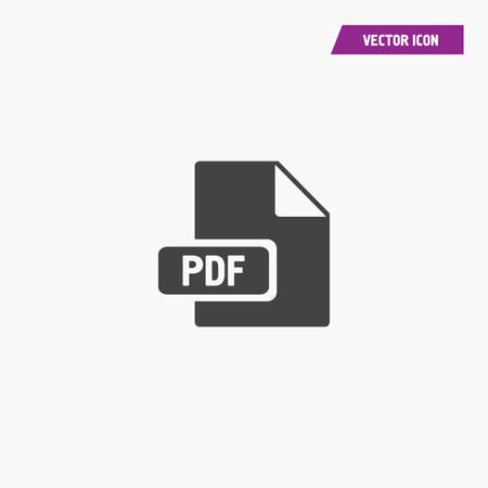 Black download pdf file button icon isolated on white background - Vector
