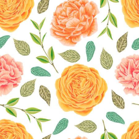 sketched flower print in bright colors - seamless background - Vector Illustration