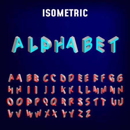 Isometric alphabet font. Three-dimensional effect bold letters and numbers. Stock vector typeface for your design. - Vector Illustration
