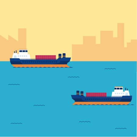 바다에서 항해하는 화물선의 평평한 모형과 배경에 먼지가 많은 도시 실루엣. 템플릿, 벡터입니다.