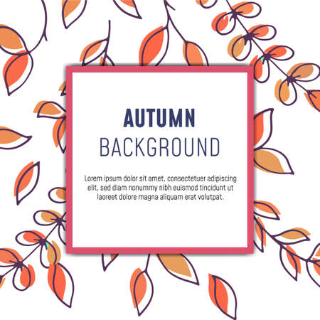 Autumn, fall leaves pattern greeting card with space for text, vector illustration. - Vector